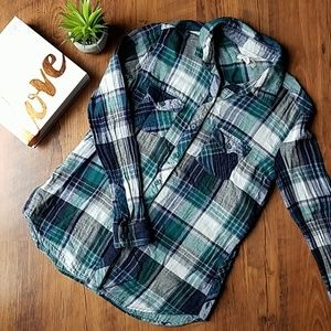 Beachlunchlounge Flannel Button Down Top